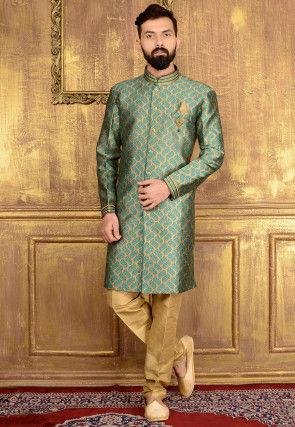 Woven Brocade Silk Sherwani in Beige and Teal Blue