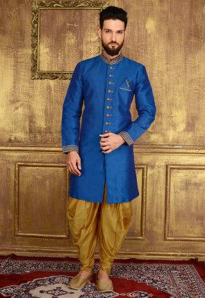 Plain Art Silk Sherwani in Blue