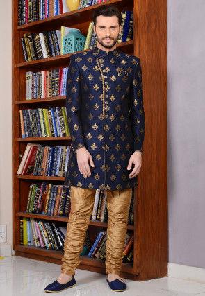 Woven Art Silk Sherwani in Navy Blue
