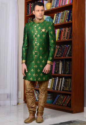 Woven Art Silk Sherwani in Green