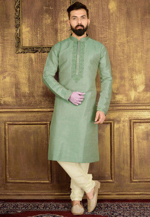 Embroidered Art Silk Kurta Set in Pastel Green
