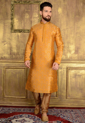 Woven Brocade Silk Kurta Set in Mustard