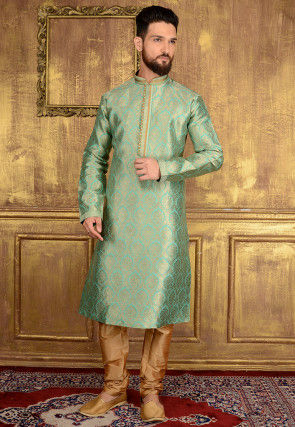 Woven Brocade Silk Kurta Set in Light Teal Green
