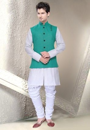 Linen Nehru Jacket in Teal Green