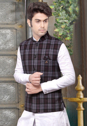 Plain Terry Cotton Nehru Jacket in Grey and Wine
