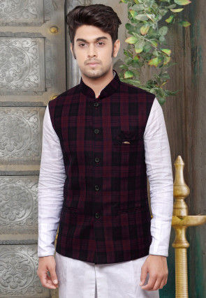 Checked Terry Cotton Nehru Jacket in Magenta
