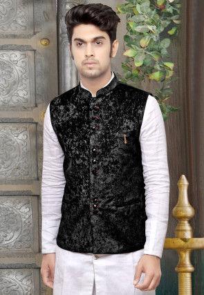 Plain Velvet Nehru Jacket in Black