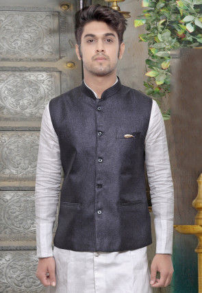 Plain Terry Cotton Nehru Jacket in Dark Blue