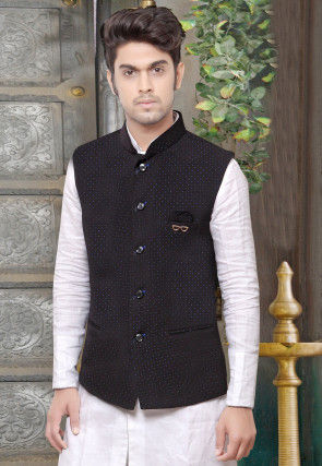Plain Terry Cotton Nehru Jacket in Black