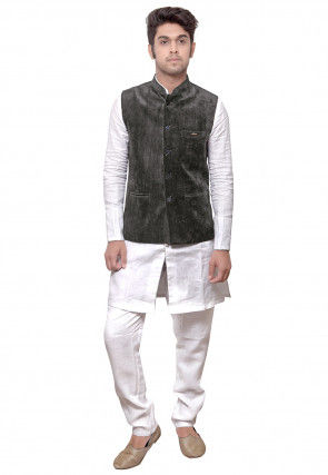 Plain Linen Kurta Set in White