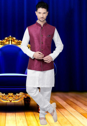Plain Jute Silk Nehru Jacket in Wine