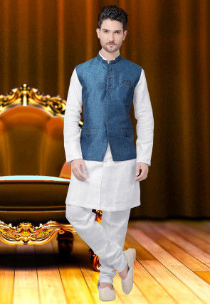 Plain Jute Silk Nehru Jacket in Blue