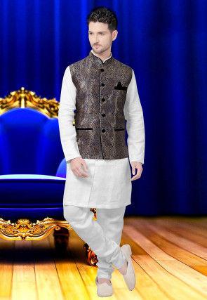 Brocade Nehru Jacket in Antique and Navy Blue