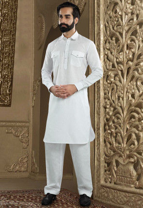 Plain Linen Kurta Pajama in White