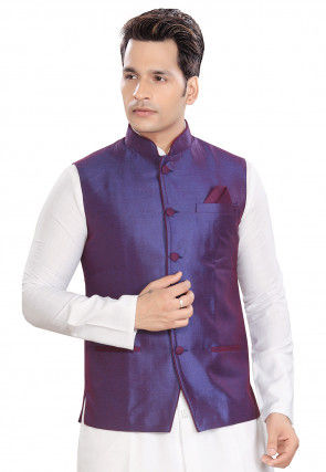 Plain Terry Rayon Nehru Jacket in Purple