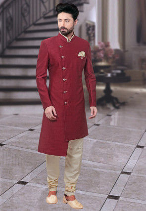 Plain Art Silk Asymmetric Sherwani in Maroon