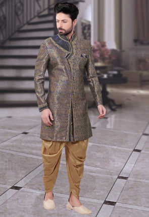 Woven Brocade Sherwani in Blue