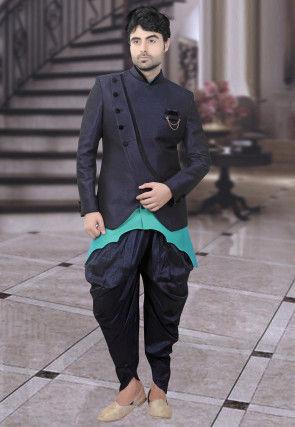 Jodhpuri Style Art Silk Bandhgala in Turquoise