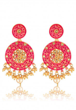 Mint Meena Chandbali Earrings