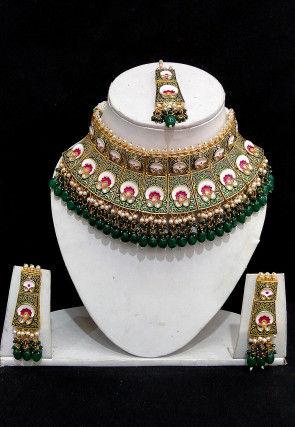 Mint Meena Choker Necklace Set