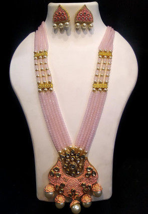 Mint Meena Kundan Long Necklace Set