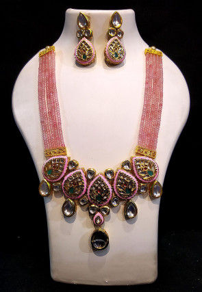 Mint Meena Stone Studded Layered Necklace Set