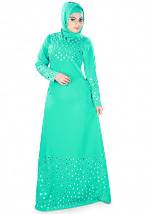Mirror Embroidered Crepe Abaya in Teal Green