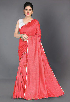 Mirrored Border Art Silk Saree in Coral Pink