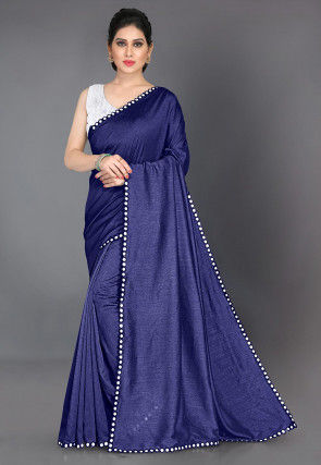 Mirrored Border Art Silk Saree in Navy Blue