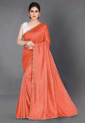 Mirrored Border Art Silk Saree in Orange