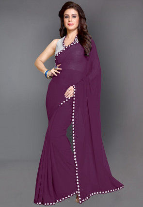 Mirrored Border Faux Georgette Saree in Wine