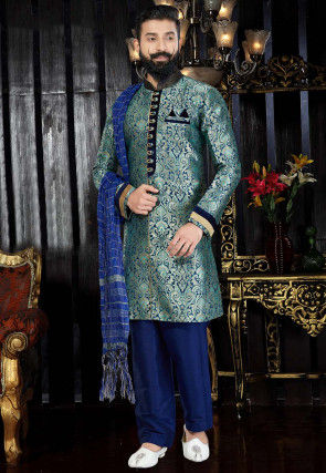 Woven Art Silk Jacquard Sherwani in Teal Blue