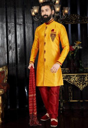 Hand Embroidered Art Silk Sherwani in Yellow