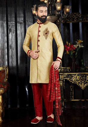 Hand Embroidered Dupion Silk Sherwani in Beige