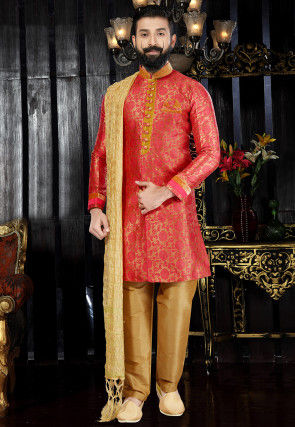 Woven Art Silk Jacquard Sherwani in Peach and Golden