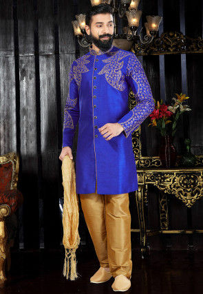 Embroidered Dupion Silk Sherwani in Royal Blue