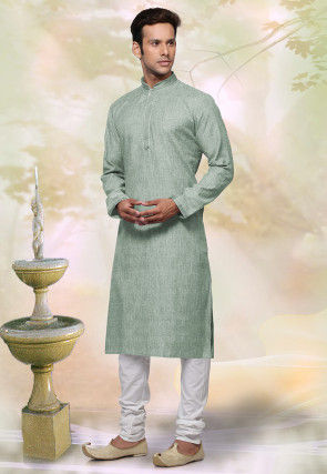 Woven Cotton Jacquard Kurta Set in Dusty Green