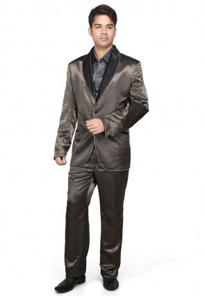 Plain Satin Coat Pant in Grey