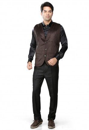 Dark Brown Velvet Readymade Waistcoat