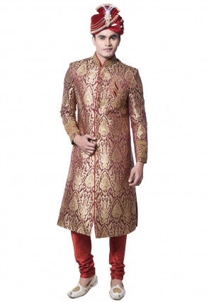 Embroidered Brocade Sherwani in Maroon