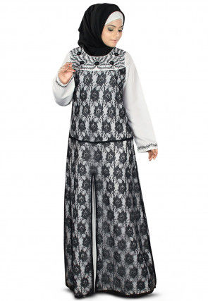 Monochromatic Chantelle Net Abaya in Off White and Black