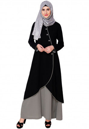 Monochromatic Nida Layered Abaya in Black and Grey