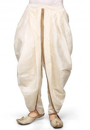 Dupion Silk Dhoti in Off White