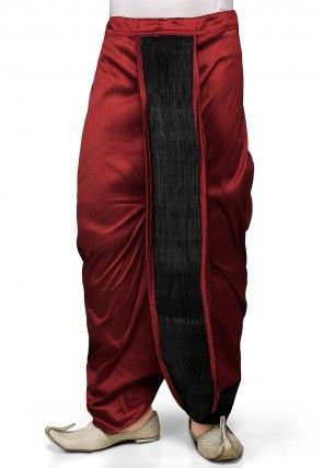 Dupion Silk and Crushed Satin Dhoti in Maroon
