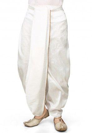 Dupion Silk Dhoti in White