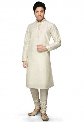 Dupion Silk Kurta Set in Cream