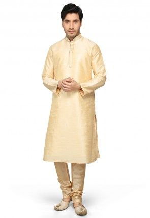 Dupion Silk Kurta Set in Beige