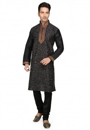 Embroidered Dupion Silk Kurta Set in Black