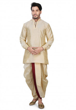 Contrast Patch Border Dupion Silk Short Dhoti Kurta in Beige