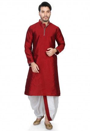 Plain Art Dupion Silk Dhoti Kurta in Red